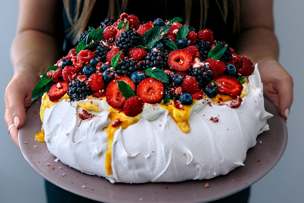 Mega Berry Pavlova with Lemon Curd & Fresh Mint  |  Gather & Feast