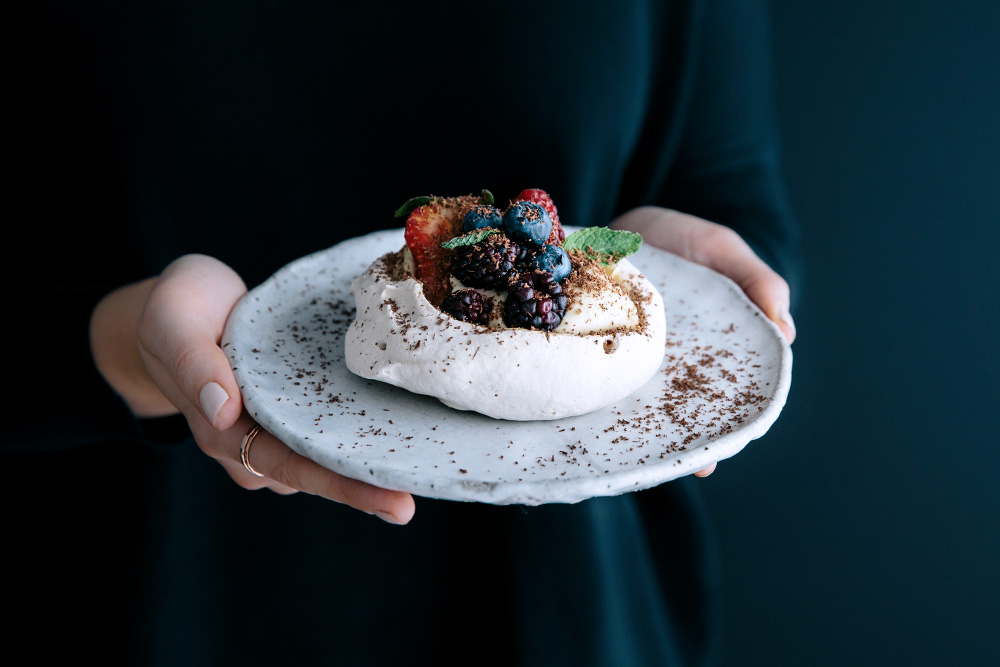 Meringues with Vanilla Mascarpone Cream, Passionfruit Curd, Berries & Fresh Mint  |  Gather & Feast