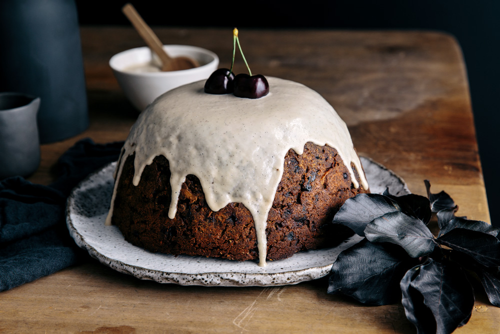 Quick & Healthy Christmas Pudding with Cashew Brandy Creme  |  Gather & Feast