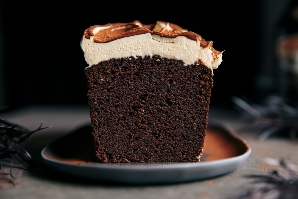 Rich Chocolate Loaf Cake with Baileys Cream Cheese Frosting  |  Gather & Feast