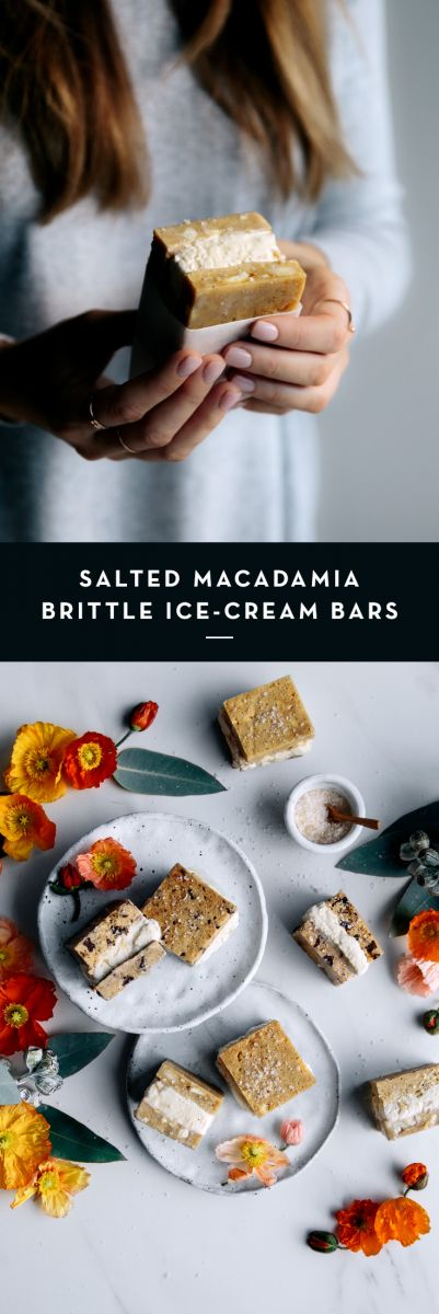 Salted Macadamia Nut Brittle Ice Cream Bars  |  Gather & Feast