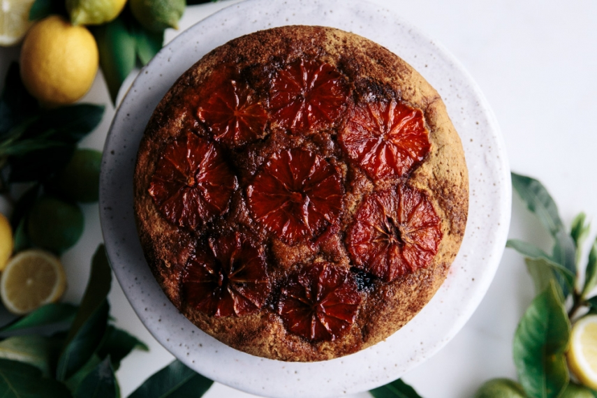 Blood+Orange+%26+Blackberry+Vanilla+Gluten+Free+Cake+with+Warm+Orange+Syrup+%26+Fresh+Mint++%7C++Gather+%26+Feast