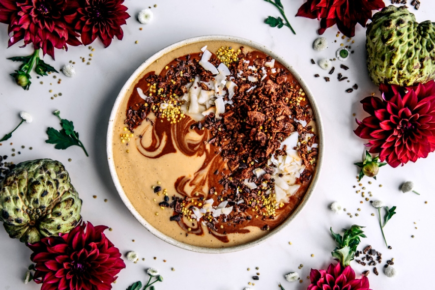 Cacao+%26+Custard+Apple+Smoothie+Bowl+with+Cacao+Quinoa+Granola++%7C++Gather+%26+Feast