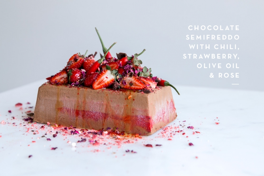 Chocolate Semifreddo with Chili, Strawberry, Olive Oil ...