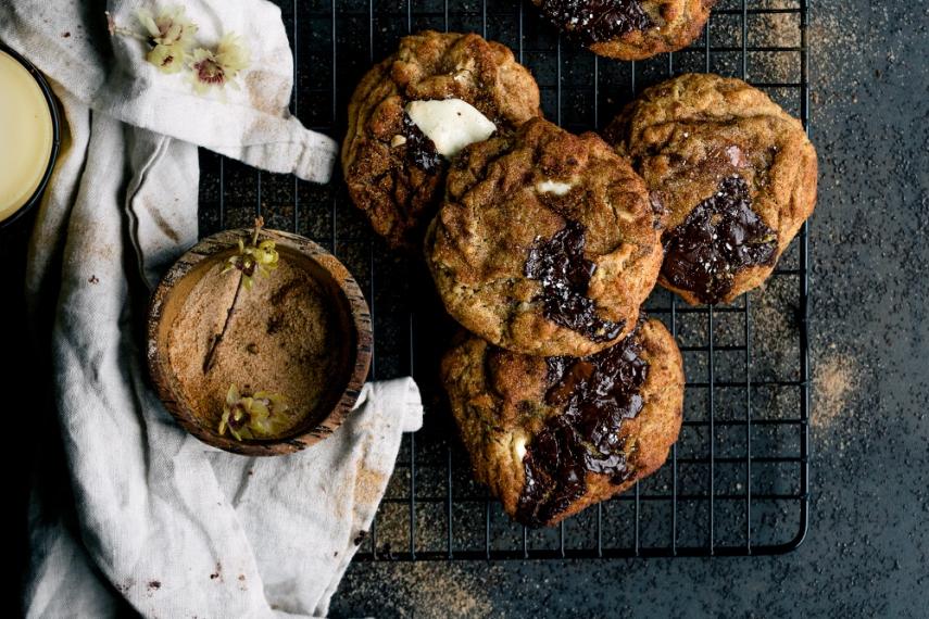 Cinnamon+Sugar-Rolled+Triple+Chocolate+Chunk+Cookies++%7C++Gather+%26+Feast
