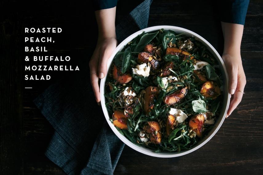 Roasted+Peach%2C+Basil+%26+Buffalo+Mozzarella+Salad++%7C++Gather+%26+Feast
