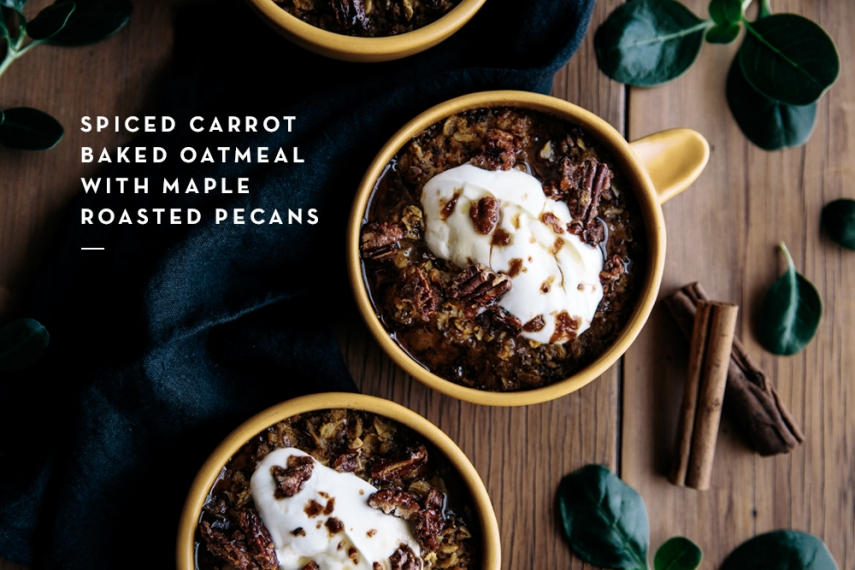 Spiced+Carrot+Baked+Oatmeal+with+Maple+Roasted+Pecans++%7C++Gather+%26+Feast