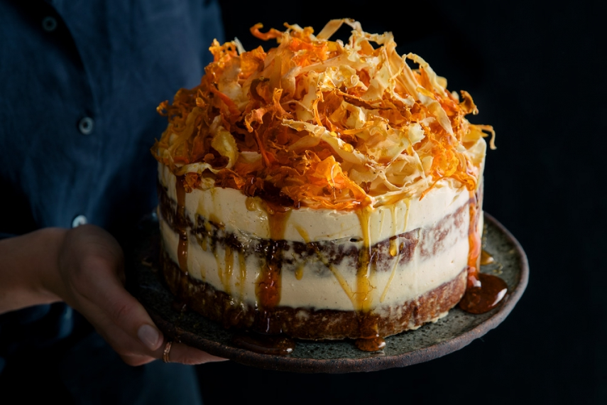 Spiced+Parsnip+%26+Carrot+Cake+with+Burnt+Honey+Cream+Cheese+Frosting+%26+Root+Vegetable+Chips++%7C++Gather+%26+Feast