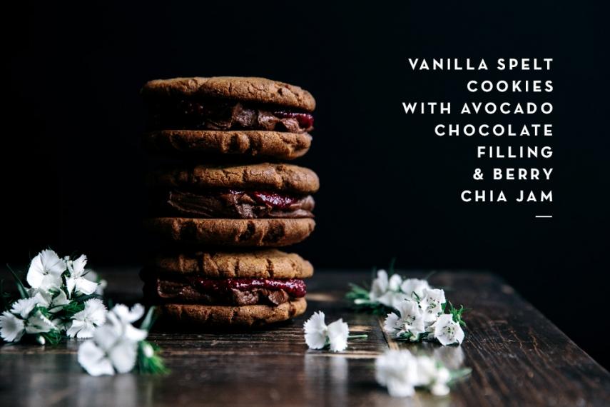 Vanilla+Spelt+Cookies+with+Avocado+Chocolate+Filling+%26+Berry+Chia+Jam++%7C++Gather+%26+Feast