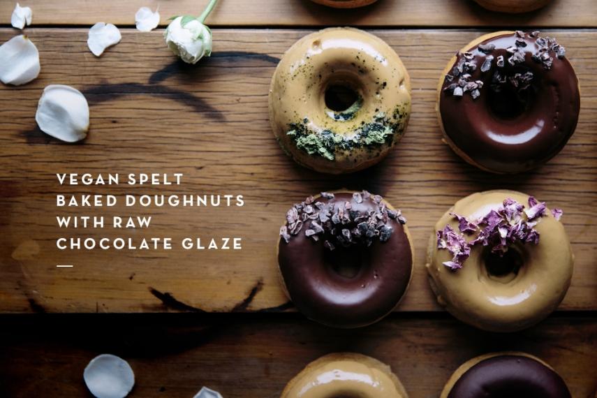 Vegan+Spelt+Baked+Doughnuts+with+Raw+Chocolate+Glaze++%7C++Gather+%26+Feast