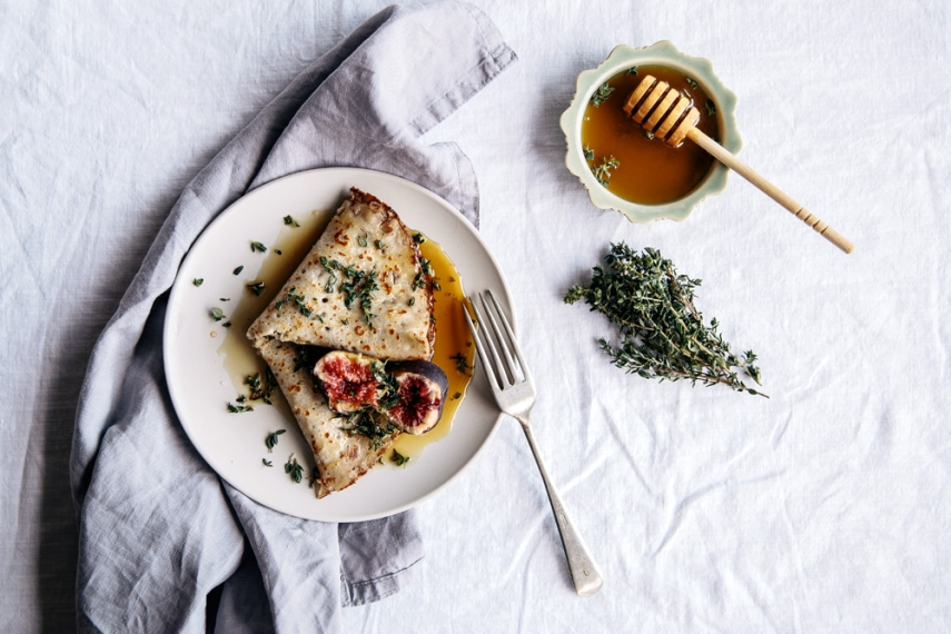 Buttered+Buckwheat+Crepes+with+Honey%2C+Thyme+%26+Fresh+Figs++%7C++Gather+%26+Feast