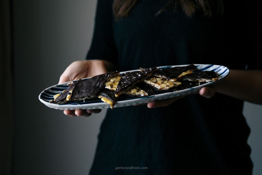 Salted+Honey+%26+Almond+Toffee+with+Dark+Chocolate++%7C++Gather+%26+Feast
