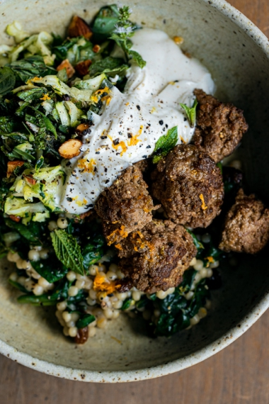 +Spiced+Meatballs+with+Pearl+%28Israeli%29+Couscous%2C+a+Fresh+Zucchini+Roasted+Almond+Salad%2C+%26+Honeyed+Yoghurt++%7C++Gather+%26+Feast
