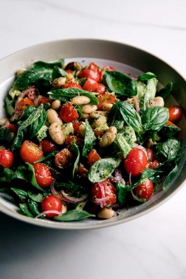 Tomato%2C+Butter+Bean+%26+Basil+Salad++%7C++Gather+%26+Feast