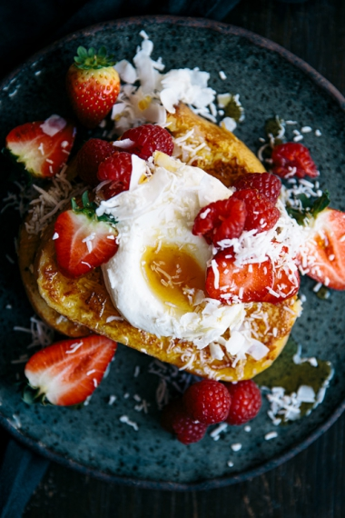 Coconut+French+Toast+with+Fresh+Strawberries++%7C++Gather+%26+Feast