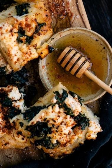 Kale+%26+Ricotta+Focaccia+with+Chili+%26+Honey++%7C++Gather+%26+Feast