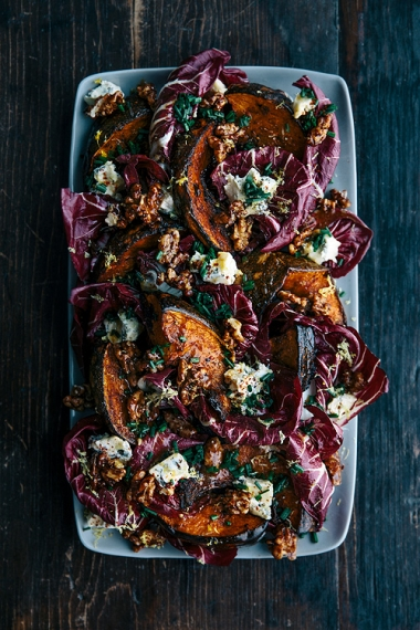 Roasted+Pumpkin+with+Radicchio%2C+Honey+Toasted+Walnuts+%26+Warm+Honey+Dressing++%7C++Gather+%26+Feast