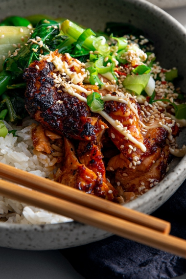 Teriyaki+Salmon+Bowls+with+Ginger+Sesame+Greens+%26+Coconut+Rice++%7C++Gather+%26+Feast