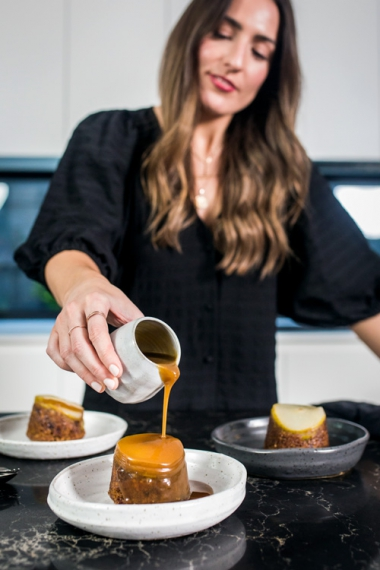 Sticky+Date+%26+Spiced+Pear+Puddings+with+Cognac+Spiked+Caramel+Sauce++%7C++Gather+%26+Feast