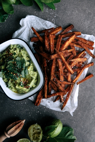 Spicy+Sweet+Potato+Fries+with+Coconut+%26+Lime+Avocado++%7C++Gather+%26+Feast