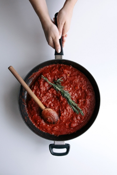 Tomato+%26+Basil+Meatballs+with+Cauliflower+Puree++%7C++Gather+%26+Feast