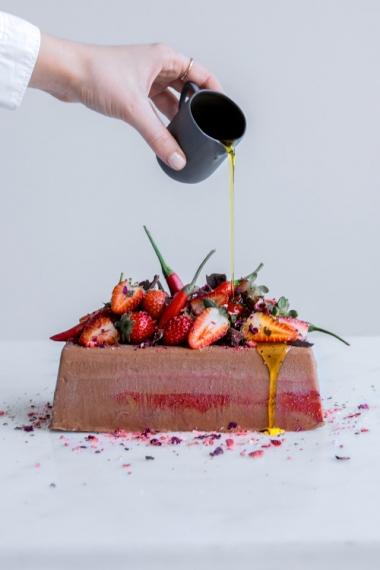 Chocolate+Semifreddo+with+Chili%2C+Strawberry%2C+Olive+Oil+%26+Rose++%7C++Gather+%26+Feast