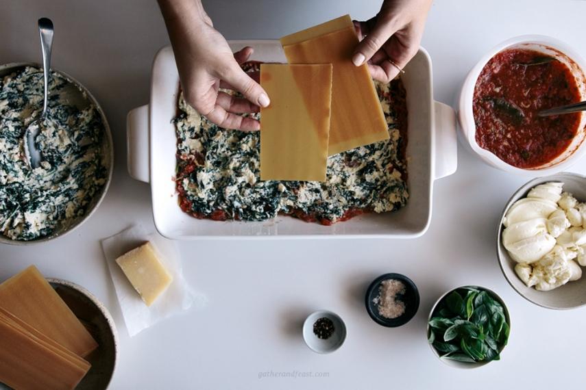 Tomato%2C+Ricotta%2C+Kale+%26+Basil+Lasagna++%7C++Gather+%26+Feast