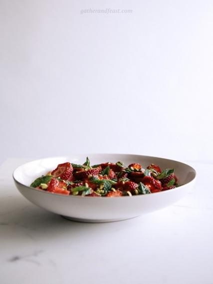 Watermelon+%26+Strawberries+with+Pistachios%2C+Honey+%26+Mint++%7C++Gather+%26+Feast